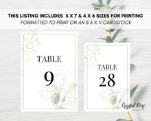 Load image into Gallery viewer, Sage Green Table Numbers | DIY Printable Wedding Table Numbers | Wedding Template