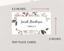 Load image into Gallery viewer, Vintage Pink Florals Rustic Wedding Place Cards, Instant Download, Printable Wedding Place Cards