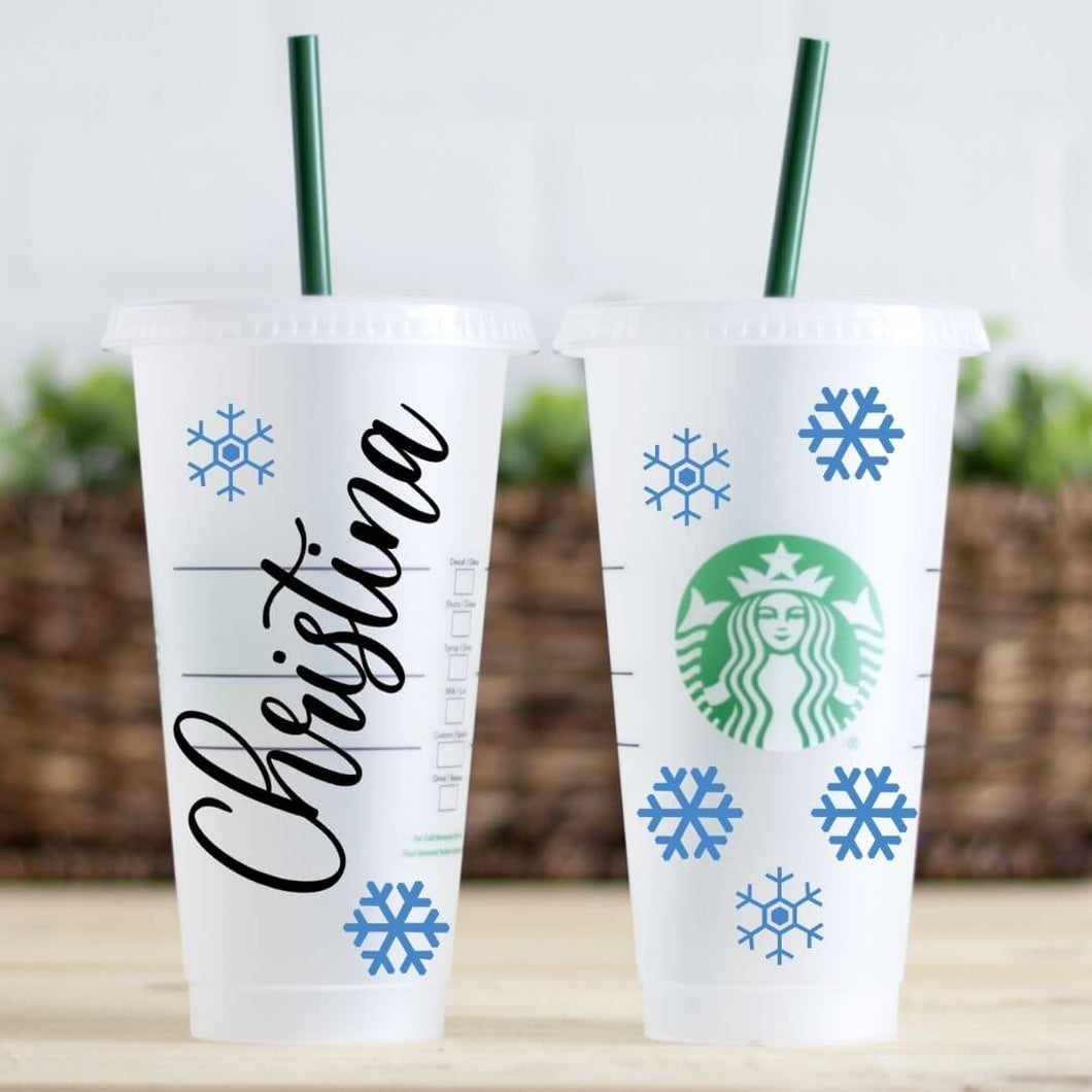 Personalized Snowflake Christmas Starbucks Cold Cup Tumblers | Reusable Cold Cup with Straw