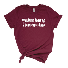 Load image into Gallery viewer, Autumn Leaves and Pumpkins Please T-Shirt