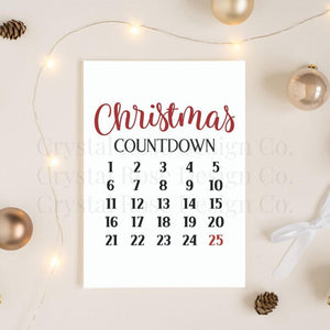 Christmas Countdown Poster | Printable Instant Digital Download Sign | Christmas - Crystal Rose Design Co.