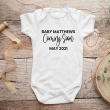 Load image into Gallery viewer, Personalized Coming Soon Baby Announcement Onesie