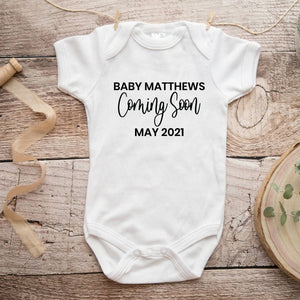 Personalized Coming Soon Baby Announcement Onesie