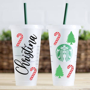 Personalized Candy Cane and Christmas Tree Starbucks Cold Cup Tumblers | Reusable Cold Cup with Straw