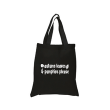 Load image into Gallery viewer, Autumn Leaves & Pumpkins Please Tote Canvas Bag