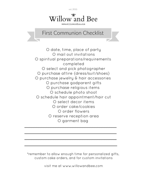 First Communion Checklist Printable