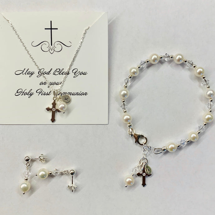 First Communion Gift Set | Freshwater Pearls & Sterling Silver