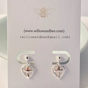 Sterling Silver Cross Earrings | First Communion Girl Gift | Flower Girl Gift