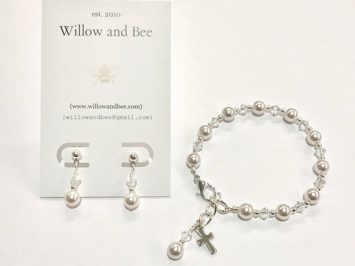 First Communion Bracelet and Earring Set