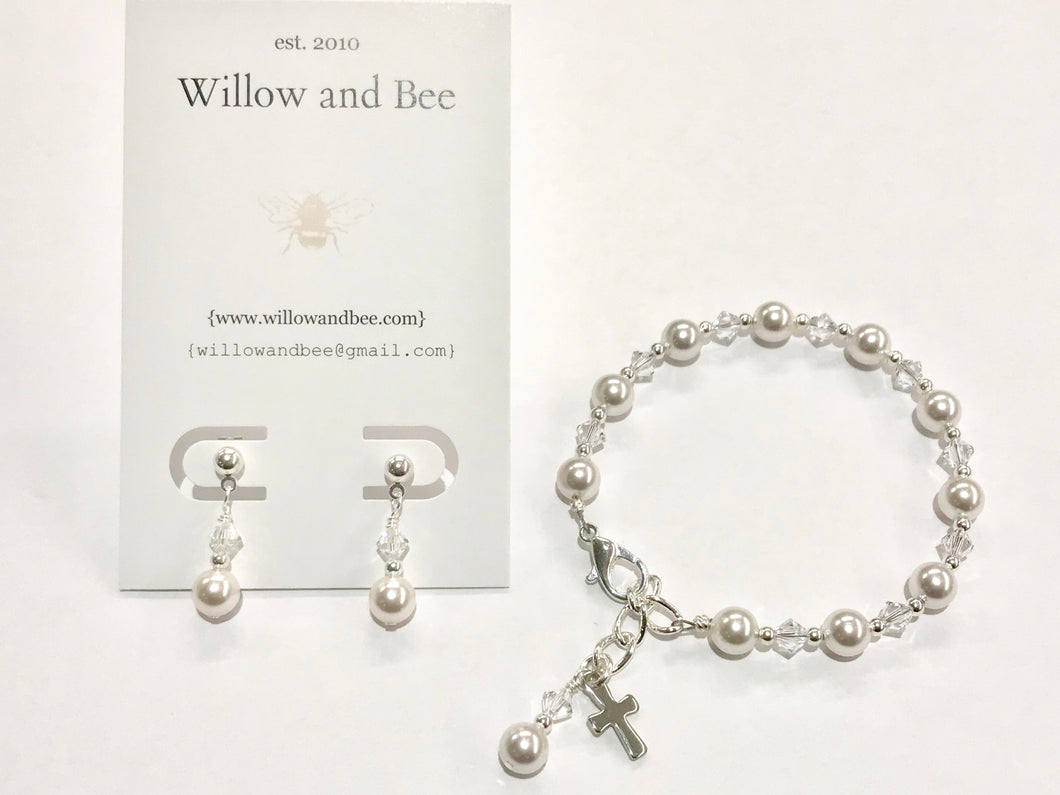 First Communion Gift Set | First Communion Confirmation Gift Girl | Rosary Bracelet | Willow and Bee