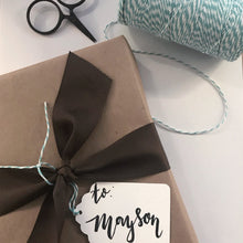 Load image into Gallery viewer, Customized Hand Lettered Tag and Gift Wrap