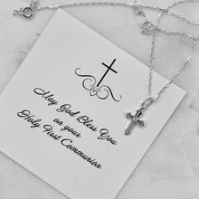 Load image into Gallery viewer, Cross Necklace | First Communion Gift | Easter Gift | Sterling Silver