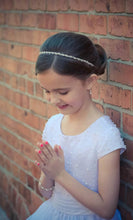 Load image into Gallery viewer, Crystal and Pearl Headband | First Communion | Flower Girl | Fun Updo Headband