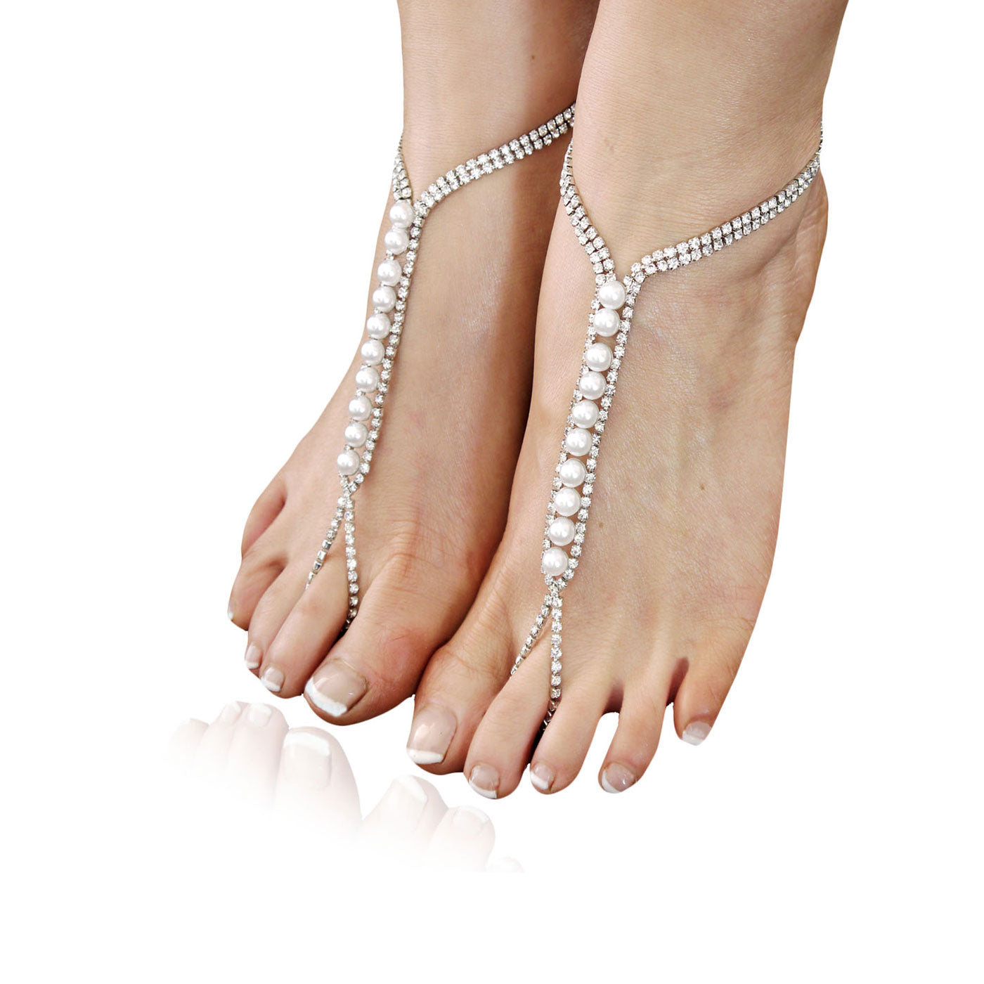 Delicate pearl and diamanté barefoot sandal - Silver