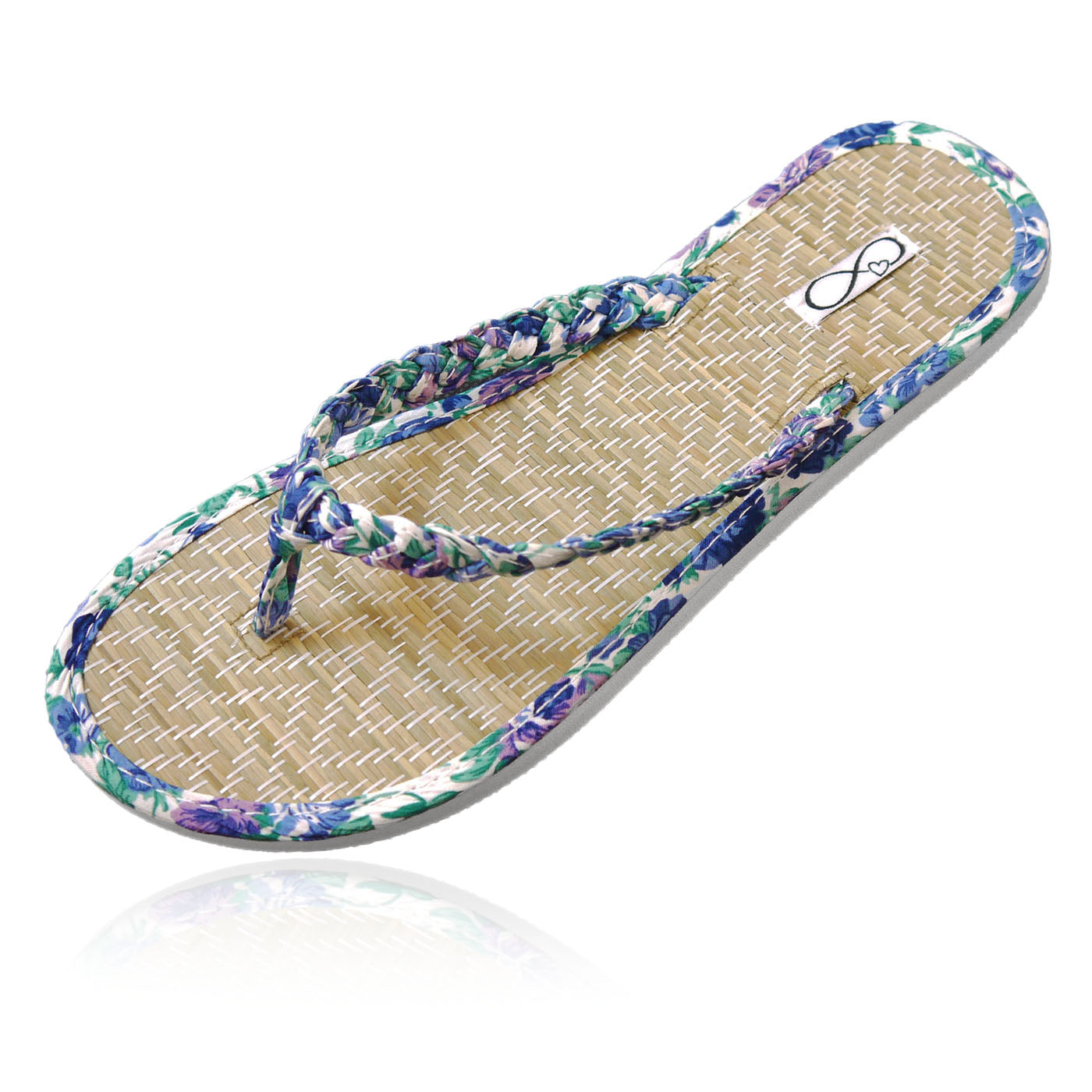 30 pairs of blue beach flip flops in a personalized crate