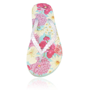 20 pairs of floral print flip flops in a personalized chalkboard crate