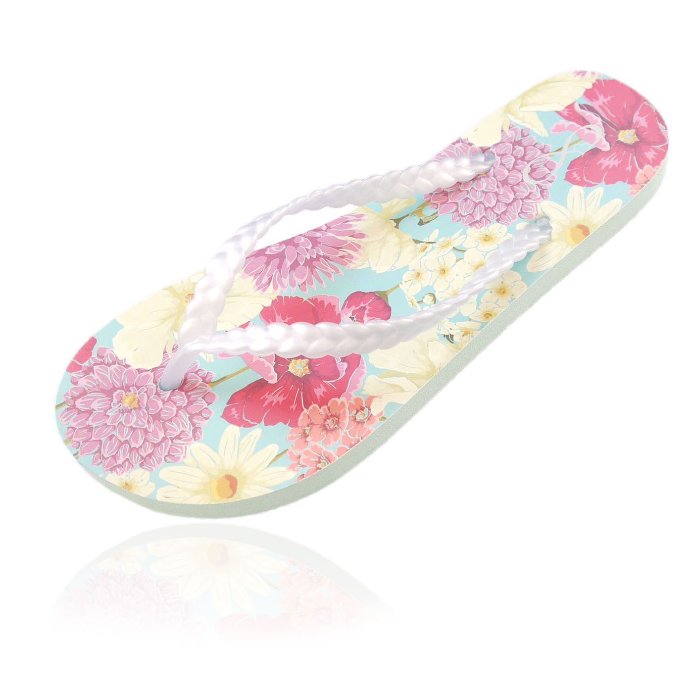 10 Pairs of floral print flip-flops in a Party box