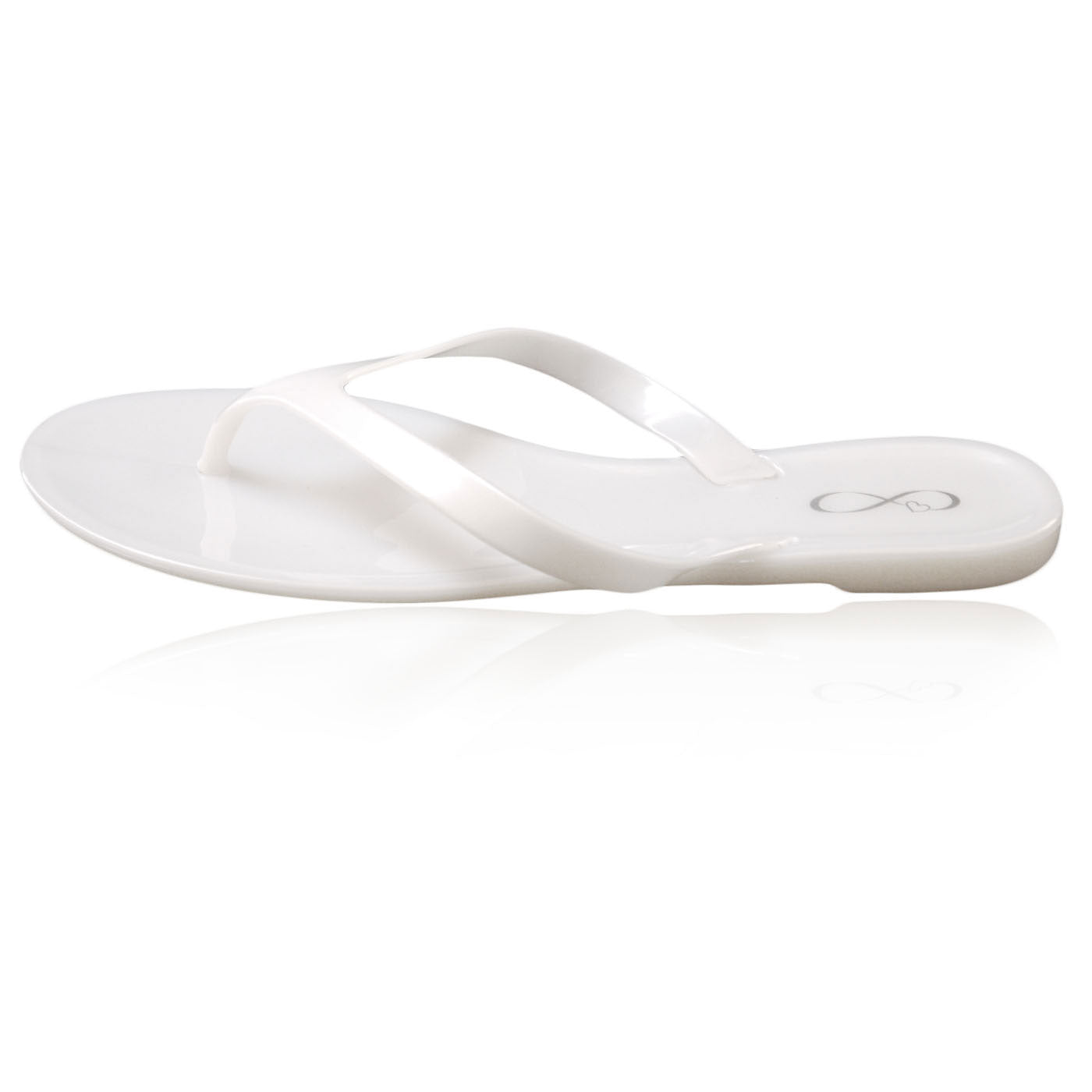 White pearl finish jelly flip flop