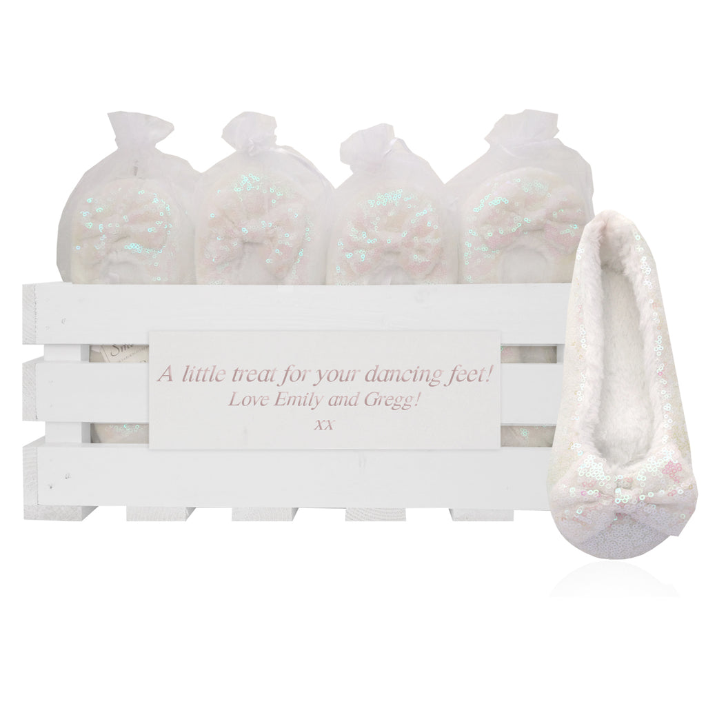 20 pairs of luxury sequin slippers in a personalized crate