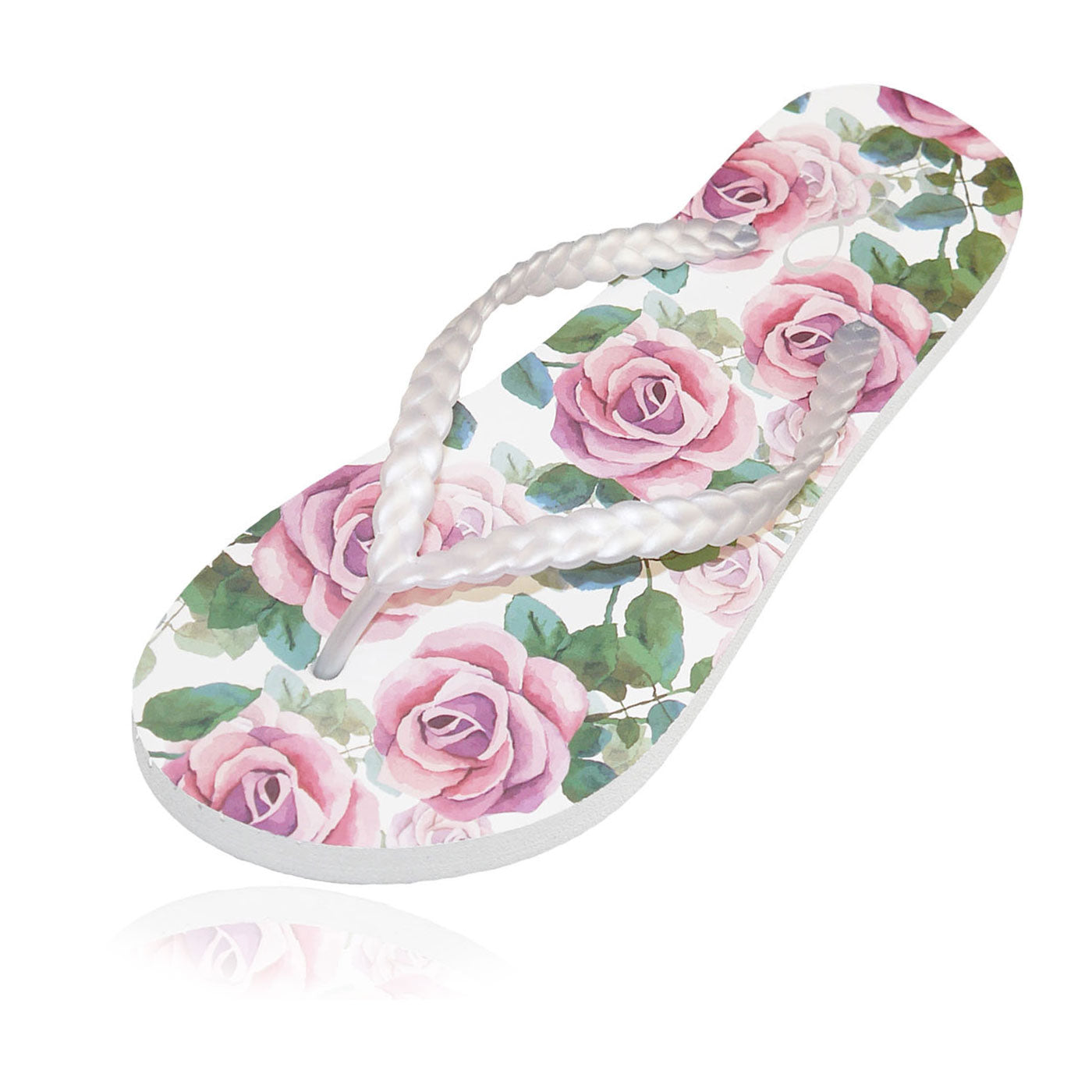 20 pairs of pink rose flip flops in a personalized crate