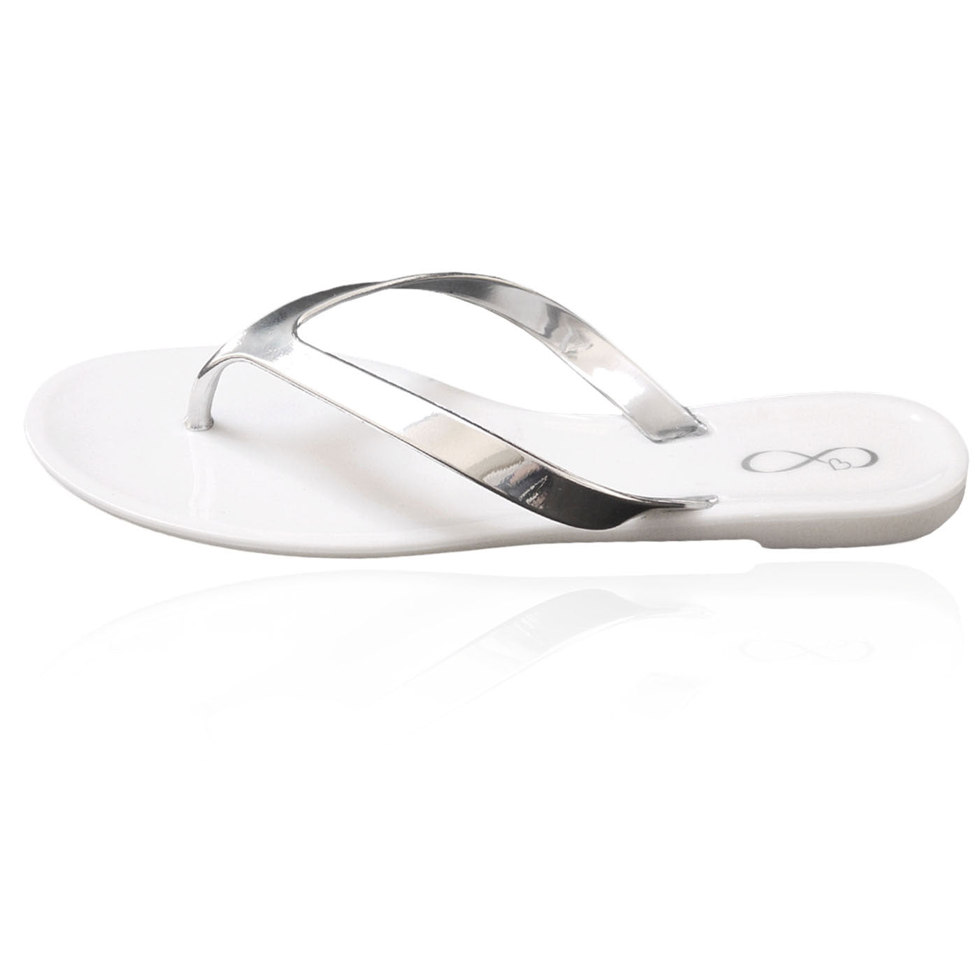 White and metallic silver jelly flip flop