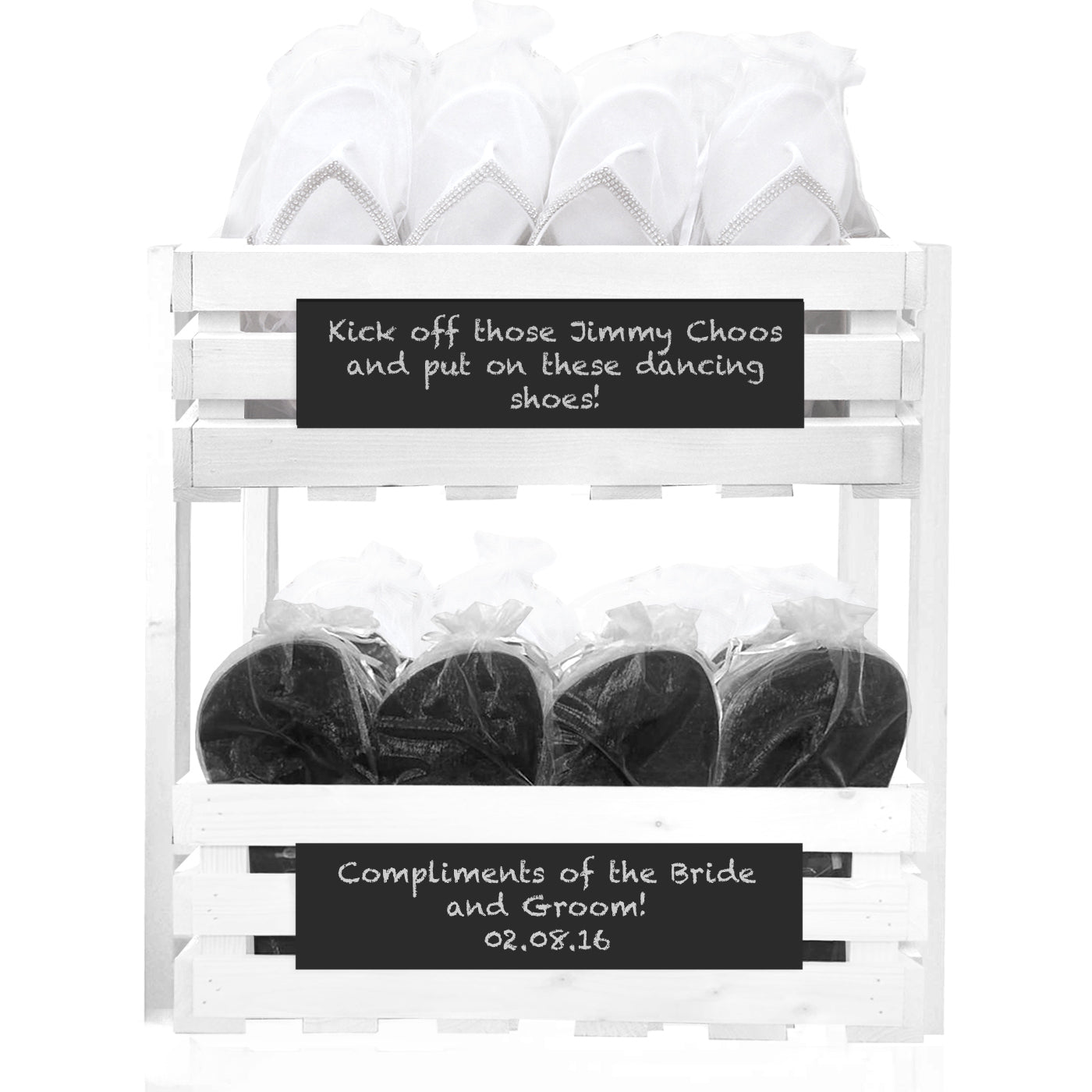 30 x Diamante flip flops and 20 x Mens flip flops in a chalkboard crate tower