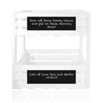 White personalized chalkboard handmade crate tower