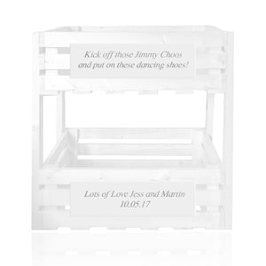 White personalized handmade crate tower