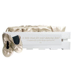 30 pairs of gold fold-up ballerinas in a personalized crate