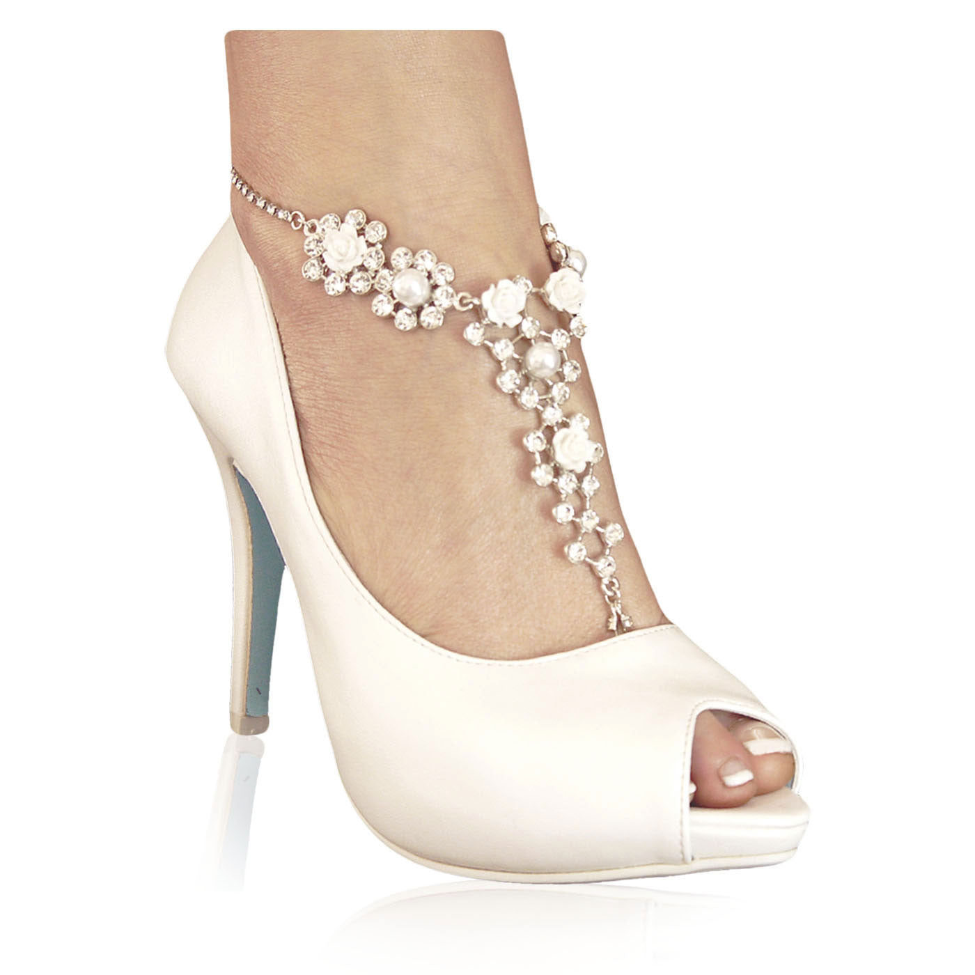 Rose and pearl barefoot sandal - Ivory