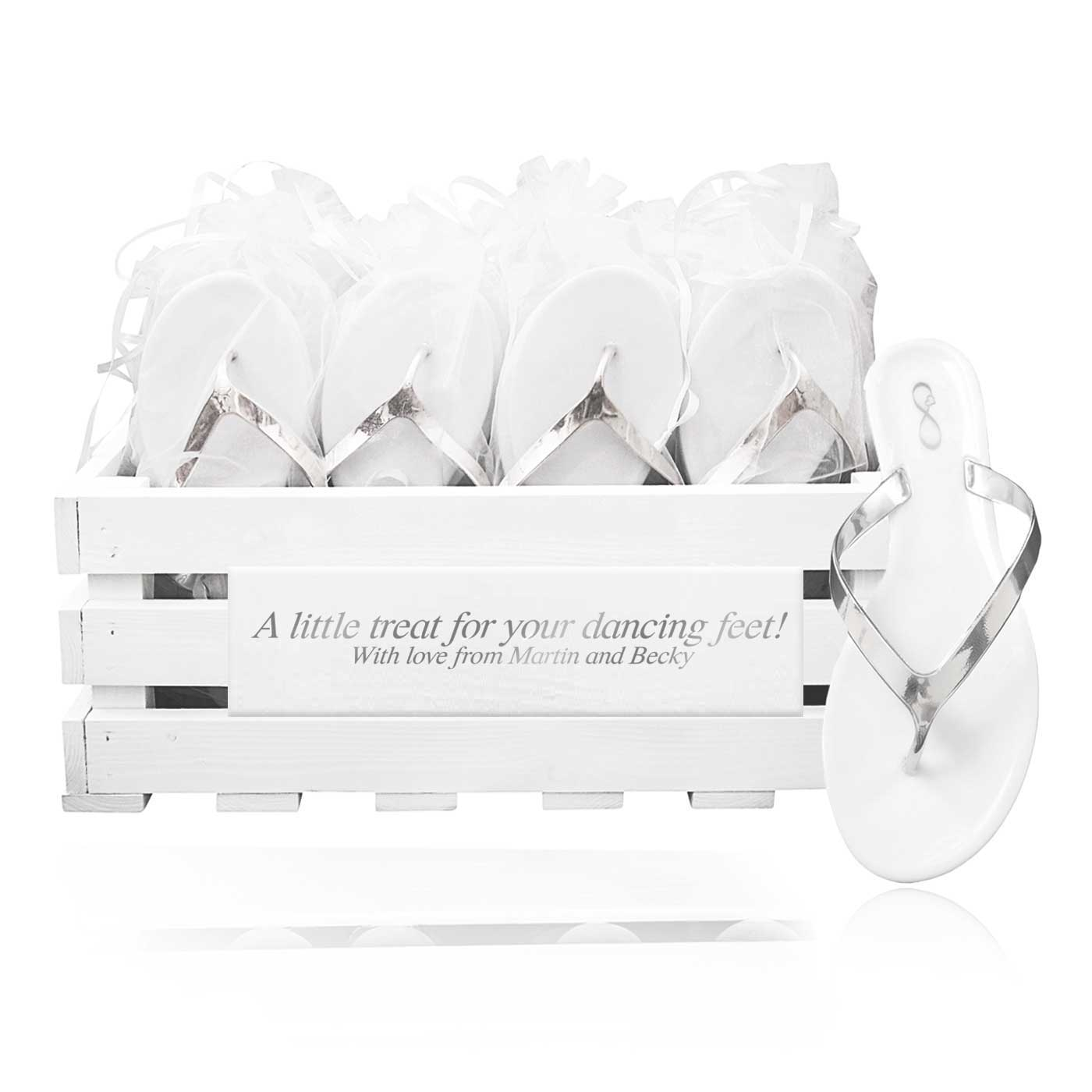 30 pairs of luxury silver jelly flip flops in a personalized crate