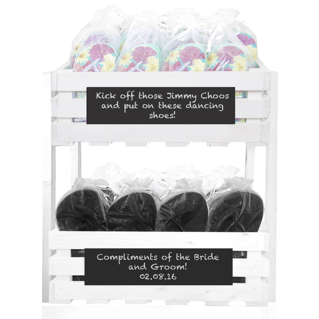 20 x Floral flip flops and 20 x Mens flip flops in a chalkboard crate tower