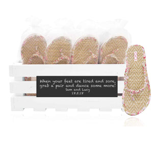 30 pairs of pink beach flip flops in a personalized chalkboard crate