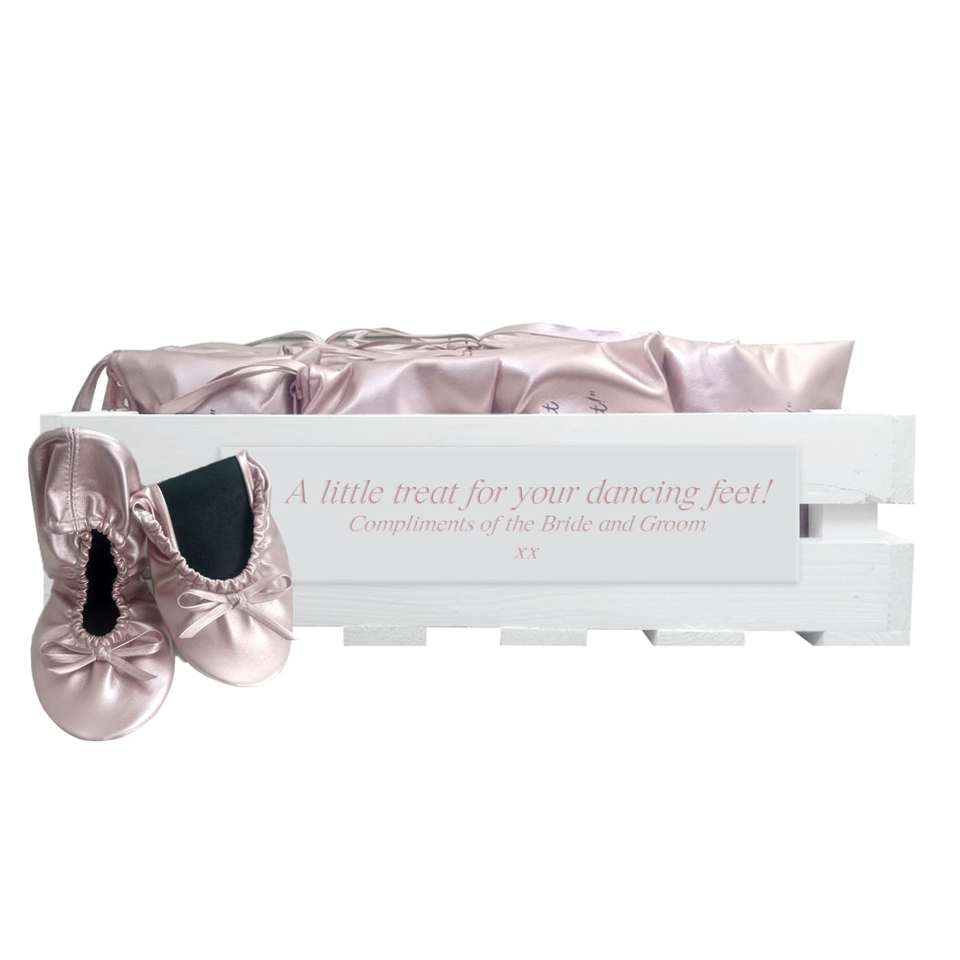 30 pairs of rose gold fold-up ballerinas in a personalized crate
