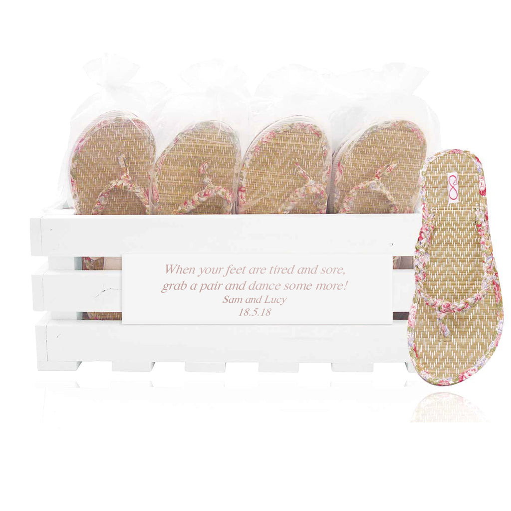 30 pairs of pink beach flip flops in a personalized crate