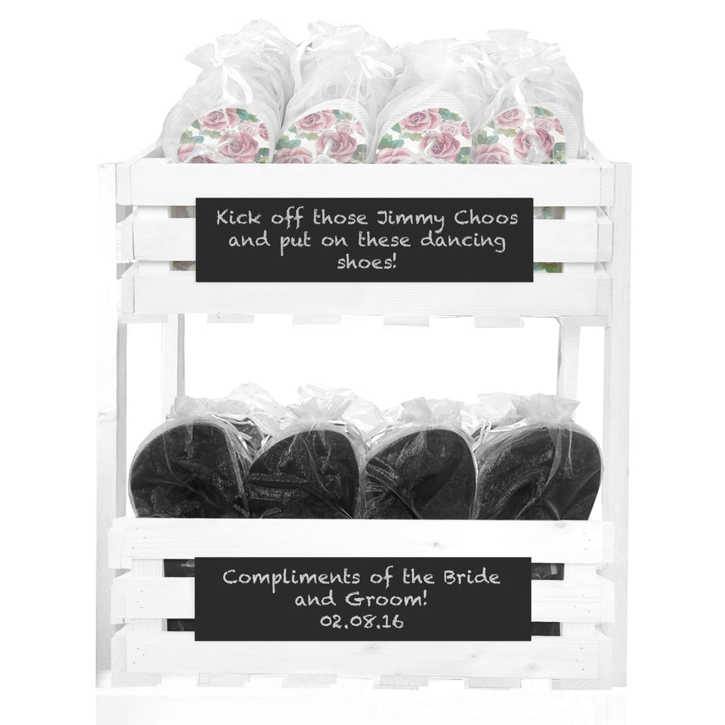 20 x Rose flip flops and 20 x Mens flip flops in a chalkboard crate tower