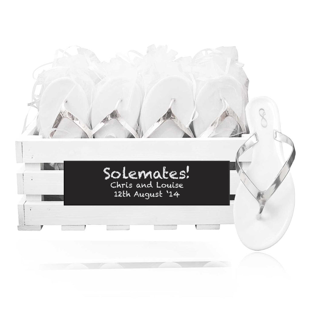 30 pairs of metallic silver flip flops in a personalized chalkboard crate