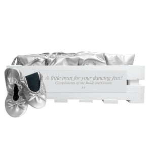 30 pairs of silver fold-up ballerinas in a personalized crate