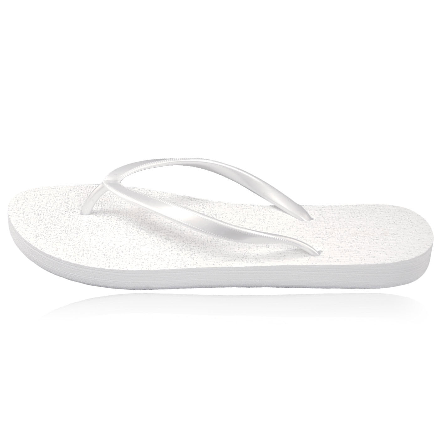 10 Pairs of white glitter flip-flops in a Party box