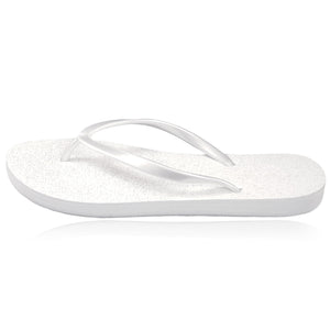 20 pairs of white glitter flip flops in a personalized crate