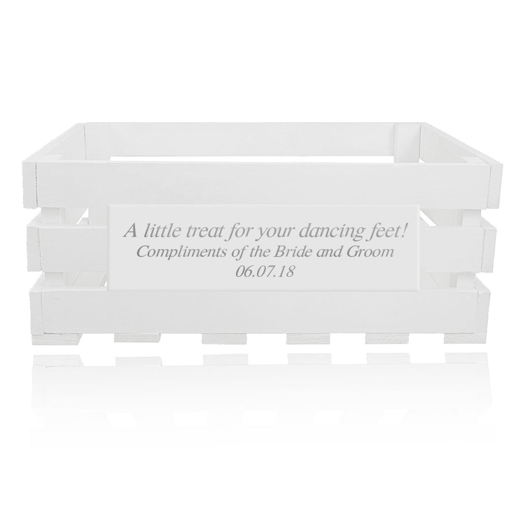 White personalized handmade crate