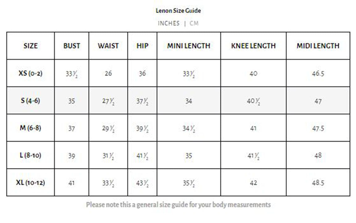 Lenon Collection. Lenon Size Guide