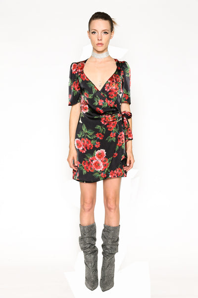 Lenon Collection. Black/ Red Floral Print Satin Front self tie Hidden back zipper