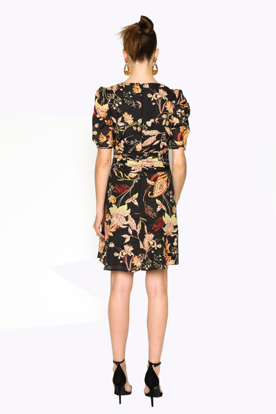 Lenon Collection. Black/Peach Floral Print Back hidden zipper Plunging neckline Cotton