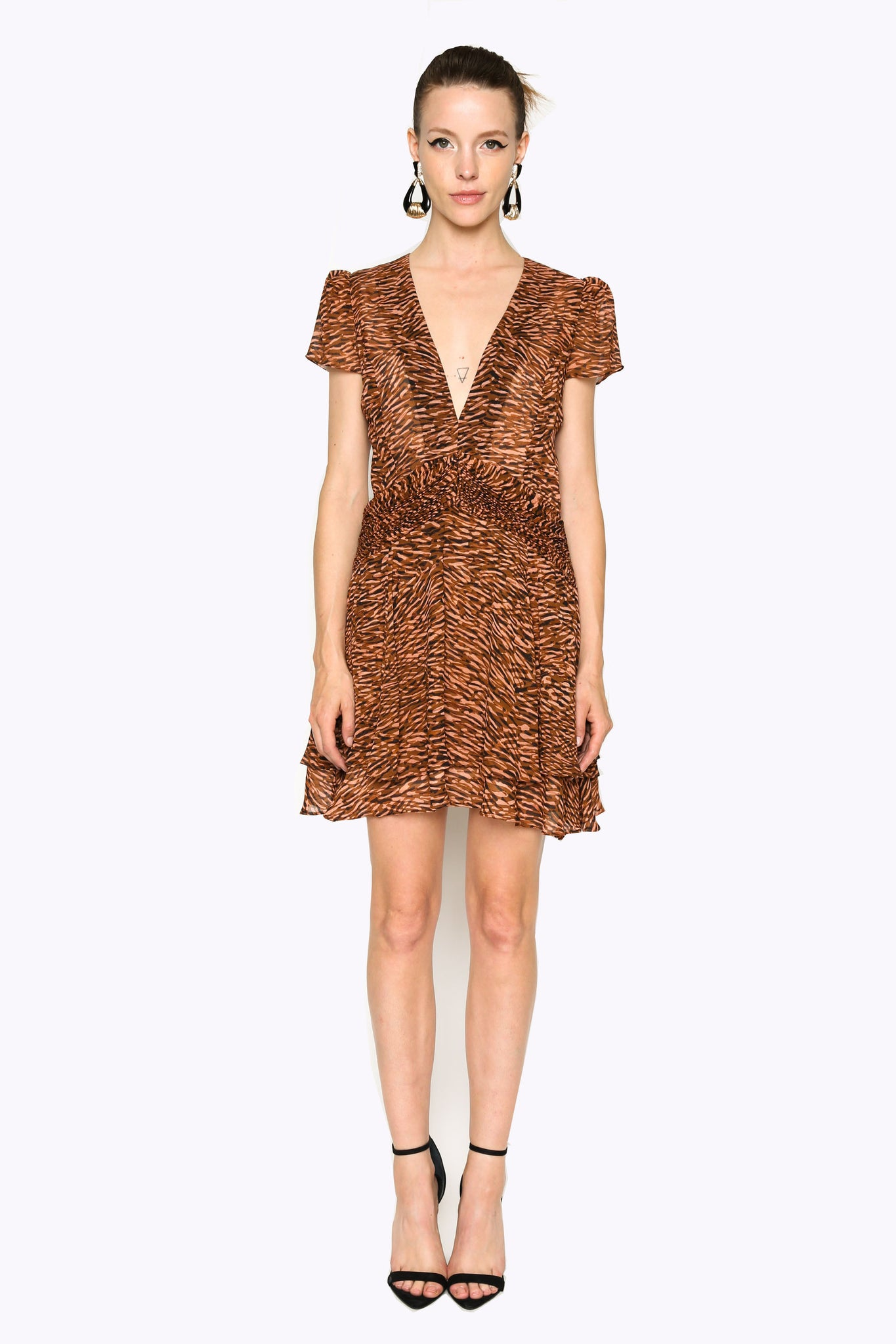 Lenon Collection. Rose/Tan Abstract Animal Print Plunging neckline Tiered hemline Back zipper Viscose.