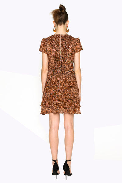 Lenon Collection. Rose/Tan Abstract Animal Print Plunging neckline Tiered hemline Back zipper Viscose