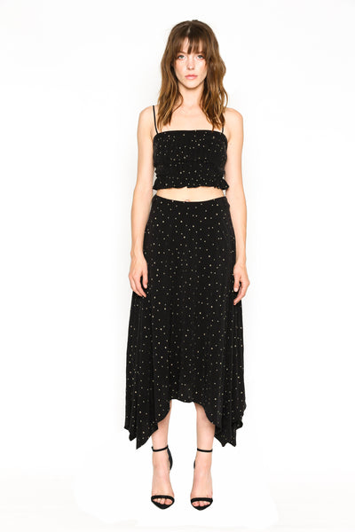 Lenon Collection. Black Mini Star Print Hanadkerchied Hem Bandless Waist Hidden Zipper and hook-and-eye closures at back. Cupro/ Viscose.