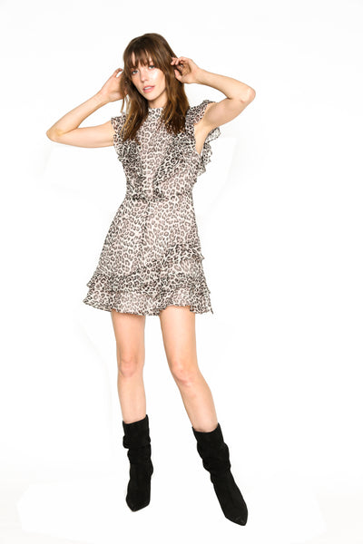 Lenon Collection.Crinkle Chiffon Blush Leopard Print Ruffle detail in front and back Hidden back zipper.