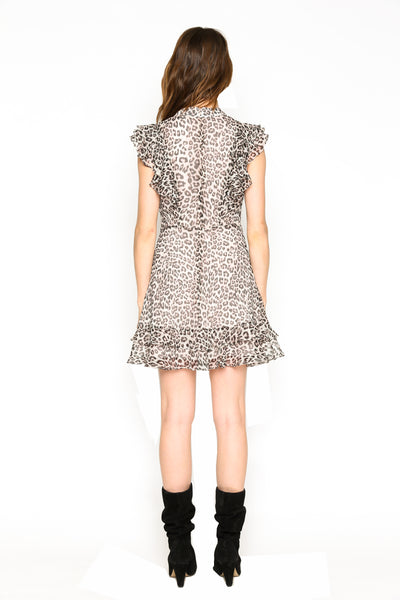 Lenon Collection.Crinkle Chiffon Blush Leopard Print Ruffle detail in front and back Hidden back zipper