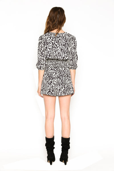 Lenon Collection. Baby Twill Blk/White Animal Print Smocking hem V neckline